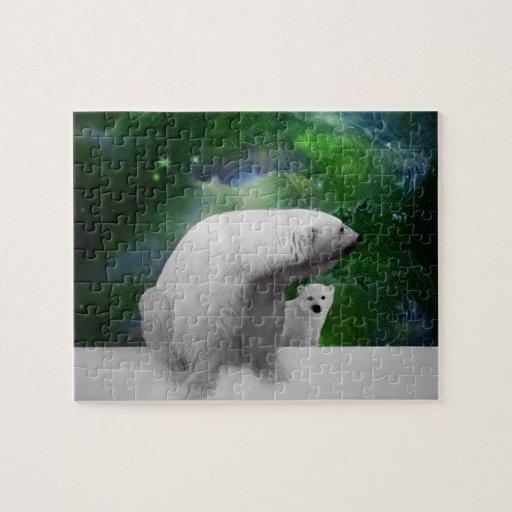 Oso polar, cachorro y aurora de la aurora boreal puzzles con fotos