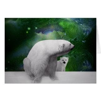 Oso polar, cachorro y aurora de la aurora boreal tarjetas