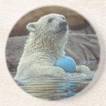 Oso polar Cub con el práctico de costa de la bola Posavasos Para Bebidas