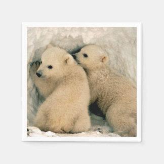 Oso polar Cubs en la nieve Servilleta De Papel