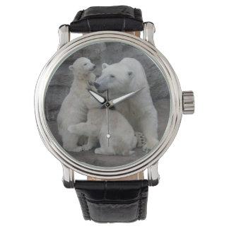 Oso polar Cubs y madre Relojes De Pulsera