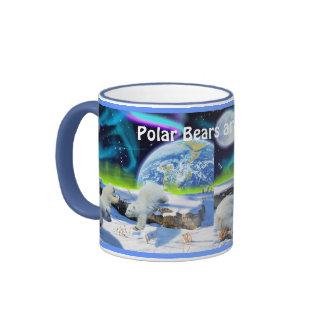 Oso polar Cubs y taza del arte de la aurora boreal