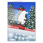 Oso polar de esquí felicitación