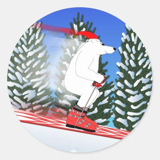 Oso polar de esquí pegatinas redondas