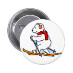 Oso polar de esquí pin redondo de 2 pulgadas