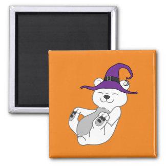 Oso polar de Halloween con el gorra de la bruja Imán Cuadrado
