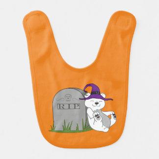 Oso polar de Halloween con la piedra grave Babero De Bebé