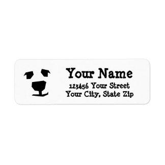 Oso polar de la cara animal, perro etiquetas de remite