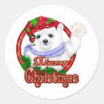 Oso polar de las Felices Navidad Pegatina Redonda