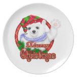 Oso polar de las Felices Navidad Plato De Comida