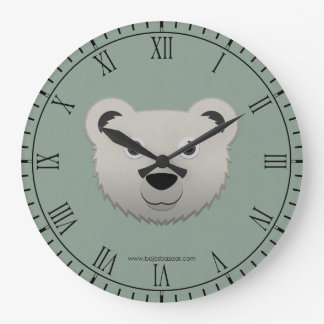 Oso polar de papel reloj redondo grande