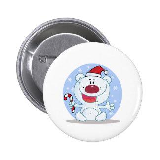 oso polar de santa del bastón de caramelo tonto pin redondo 5 cm