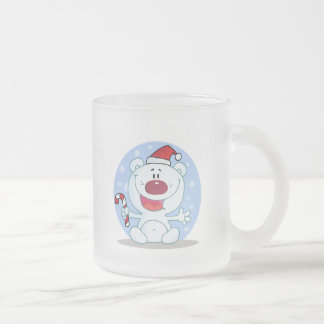 oso polar de santa del bastón de caramelo tonto tazas de café