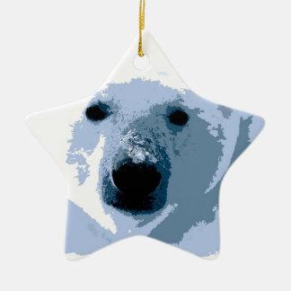 Oso polar adorno de cerámica en forma de estrella