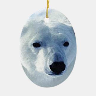 Oso polar adorno ovalado de cerámica
