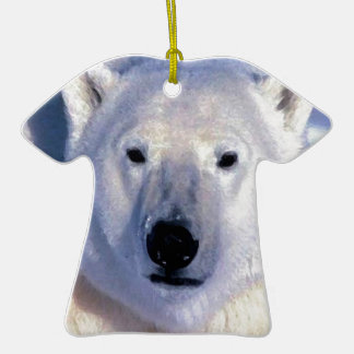 Oso polar adorno de cerámica en forma de camiseta