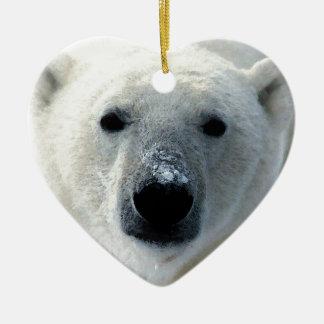 Oso polar adorno de cerámica en forma de corazón