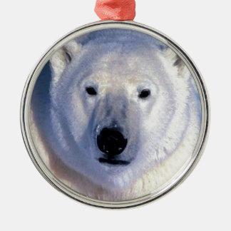 Oso polar adorno redondo plateado