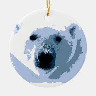 Oso polar adorno redondo de cerámica