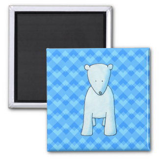 Oso polar del bebé lindo imán cuadrado