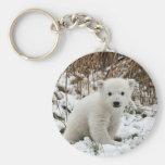 Oso polar del bebé llavero redondo tipo pin