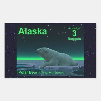 Oso polar del borde del hielo pegatina rectangular