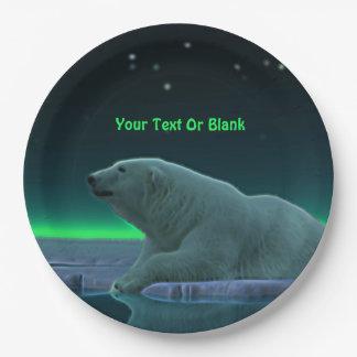 Oso polar del borde del hielo plato de papel de 9 pulgadas