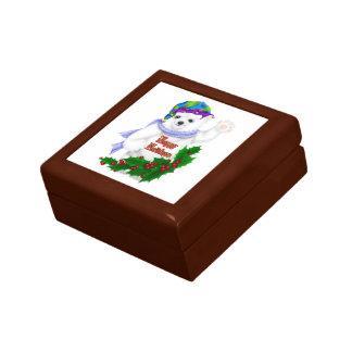 Oso polar del día de fiesta feliz cajas de recuerdo