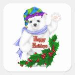 Oso polar del día de fiesta feliz pegatina cuadrada