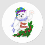 Oso polar del día de fiesta feliz pegatina redonda