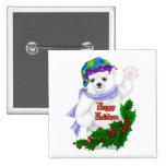 Oso polar del día de fiesta feliz pin