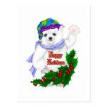 Oso polar del día de fiesta feliz postal