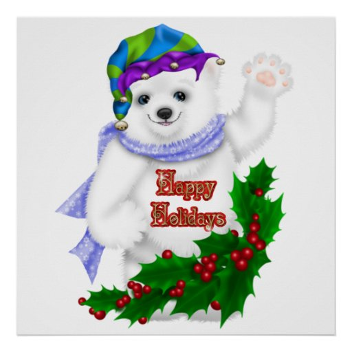 Oso polar del día de fiesta feliz poster