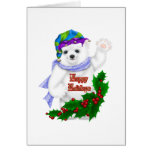 Oso polar del día de fiesta feliz tarjeta de felicitación