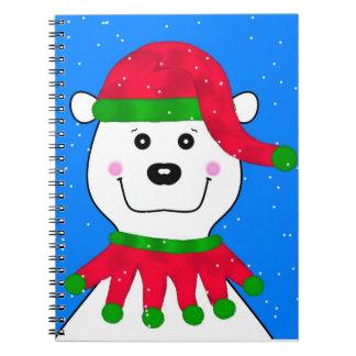 Oso polar del día de fiesta libro de apuntes con espiral