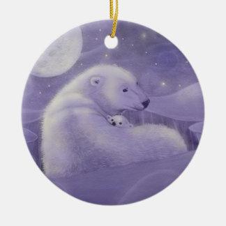 Oso polar del invierno apacible y ornamento de Cub Ornamento Para Arbol De Navidad