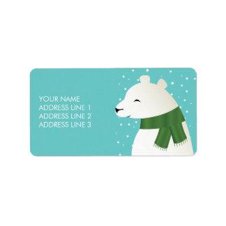 Oso polar del invierno feliz etiqueta de dirección