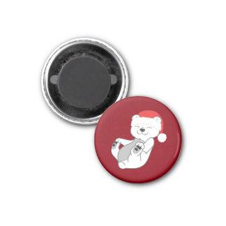 Oso polar del navidad con el gorra rojo de Santa Imán Redondo 3 Cm