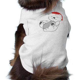 Oso polar del navidad con el gorra rojo de Santa Playera Sin Mangas Para Perro