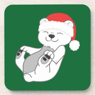 Oso polar del navidad con el gorra rojo de Santa Posavasos De Bebidas