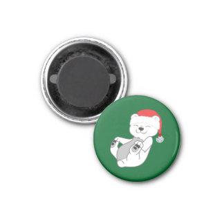 Oso polar del navidad con el gorra y Jingle Bell Imán Redondo 3 Cm