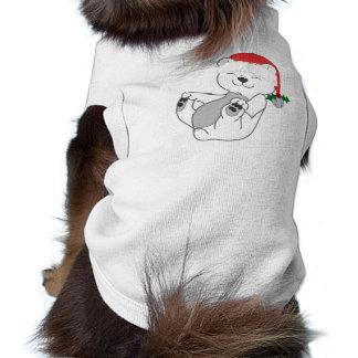 Oso polar del navidad con el gorra y Jingle Bell Playera Sin Mangas Para Perro
