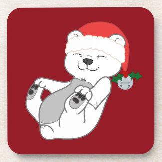 Oso polar del navidad con el gorra y Jingle Bell Posavasos De Bebidas