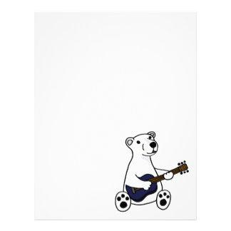 Oso polar divertido que toca la guitarra plantilla de membrete