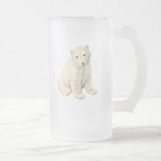 Oso polar en peligro jarra de cerveza esmerilada