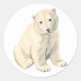 Oso polar en peligro etiqueta redonda