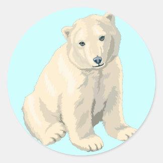 Oso polar en peligro pegatina redonda