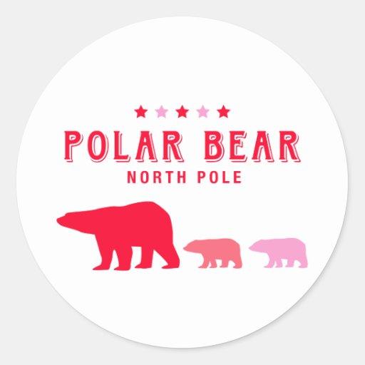 Oso polar en Polo Norte Pegatina Redonda