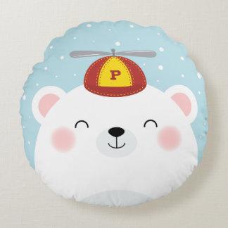 Oso polar en un ejemplo del gorra del propulsor cojín redondo