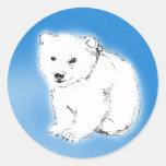Oso polar etiqueta redonda